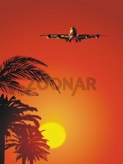 Airbus auf Sonnenuntergang