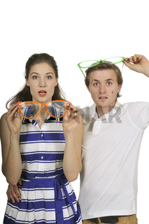 Couple with silly glasses