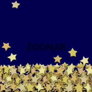 Background with many golden stars, 3d-illustration