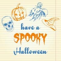 Halloween doodle - pumpkin, ghost, hat and skull