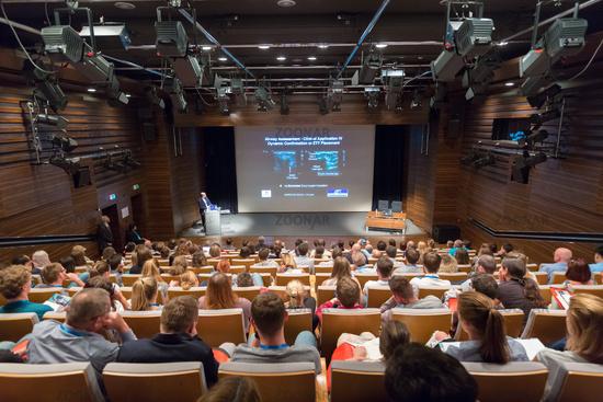 Speaker giving a talk on new ultrasound techniques at 12th Winfocus world congress in Ljubljana, Slovenia.