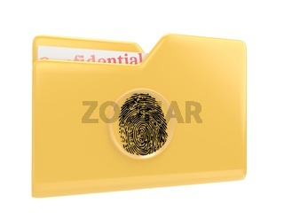 Yellow file folder with confidential documents and fingerprint scanner 3d illustration icon isolated on white