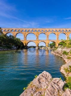 Three-storied aqueduct of Pont du Gard in Europe