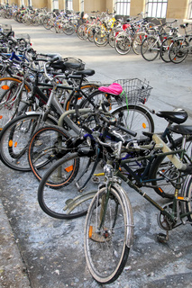 Bicycles parked inside train station in Wiesbaden, Hesse, German