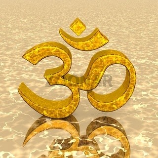 3D - Magic golden OM sign 02