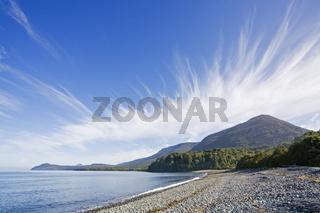 Bucht im Pazifik kurz vor Chaiten, Carretera Austral, Patagonien, Chile
