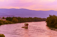 House on rock island in river Drina - Serbia