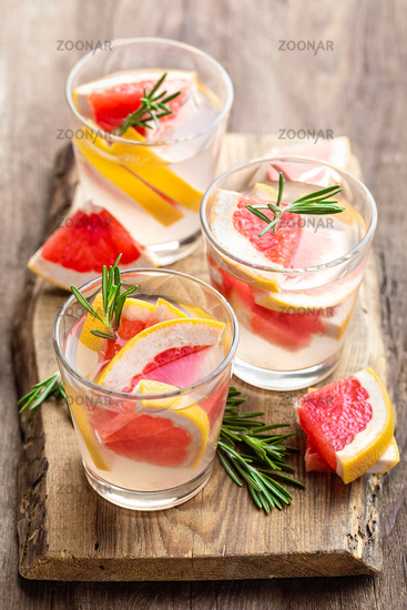 Refreshing drink, grapefruit and rosemary cocktail