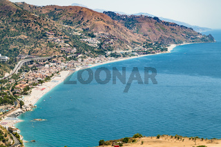 Letojanni resort village of shore of Ionian Sea