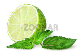 Half lime and sprig of mint