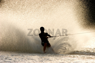 Barefoot water skier