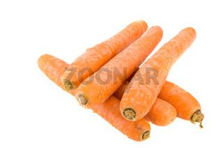 sechs Karotten über weißem Hintergrund
