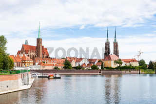 view of Cathedrals and Ostrow Tumski in Wroclaw