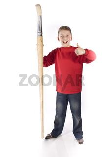 Junge mit großen Pinsel wd547