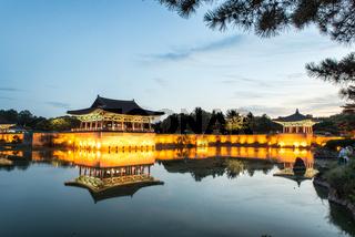 Gyeongju, South Korea - August 18, 2016 : Donggung Palace and Wolji Pond at Night, Gyeongju, South Korea.