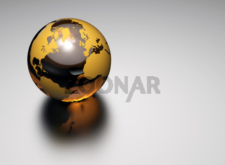 3d glass earth on white background