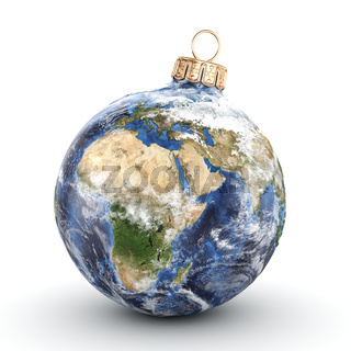 3D rendering Christmas ball Planet Earth