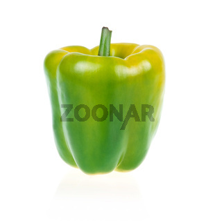 Ripe Green Paprika Isolated on White
