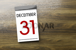 Calendar the 31st of December New Year's Eve