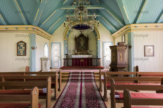 Interior Church with Benches Near Hvolsvollur