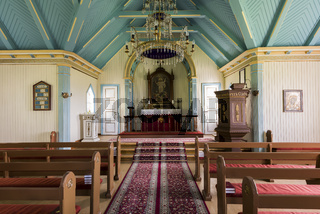 Interior Church with Benches Near Hvolsvollur