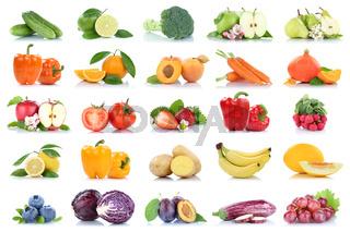 Früchte Obst und Gemüse Apfel Tomaten Orange Birne Karotten Beeren Farben Sammlung Freisteller freigestellt isoliert