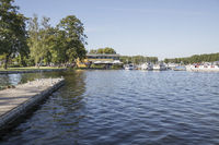 Stadtpark and yacht harbour by the Schwedtsee, Fürstenberg Havel, Brandenburg, Germany