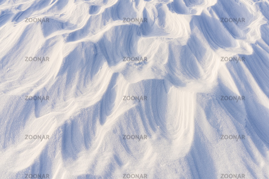 Wind blown snow formations (Sastrugi), Riisitunturi National park, Lapland,Finland