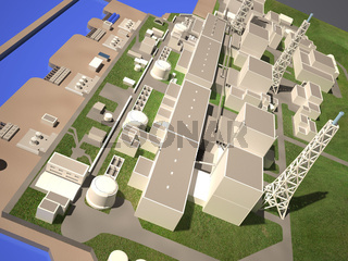 Three-dimensional layout of Fukushima nuclear plant. 3d