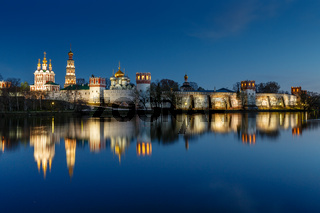 Stunning View of Novodevichy Convent in the Evening, Moscow, Russia