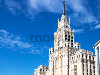view of old skyscraper in Moscow city