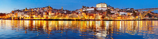 Porto twilight panoramic view, Portugal