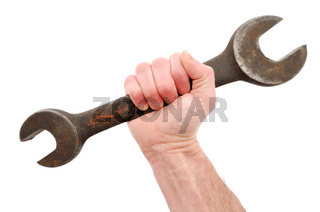 Holding Large Open-End Wrench in Hand Isolated on White