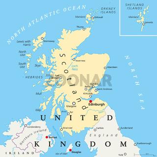 Schottland politische Landkarte
