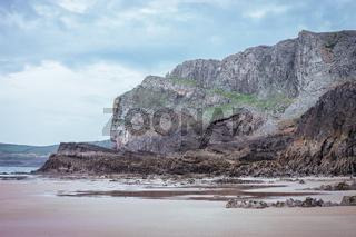 Rocky Sea Shore In Rhossili, Wales Coast Path