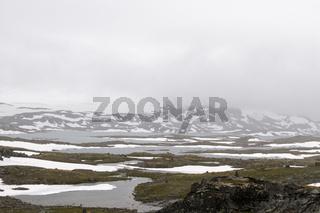 Schneefelder in Jotunheimen, Norwegen