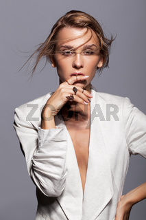 Portrait of young beauty woman in casual white jacket