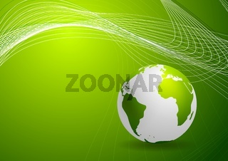Green background with globe and lines