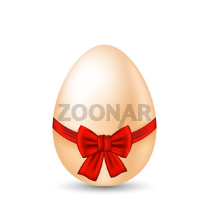 Easter paschal egg with red bow, isolated on white background