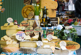 Selling cheese at the market