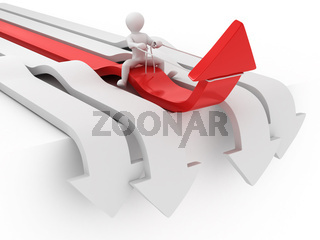 Men on arrow. Conceptual image of success. 3d