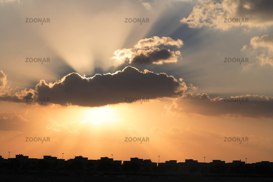 Sunset with beams of light