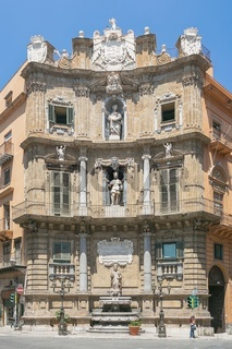 One part of the four corner houses on the Central square of Quattro Canti di Citta in Palermo