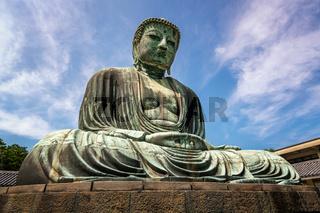 The Great Buddha of Kamakura (Kamakura Daibutsu), a bronze statue of Amida Buddha in Kotokuin Temple, Kamakura, Kanagawa, Japan