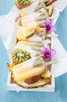 Fruity ice cream popsicles