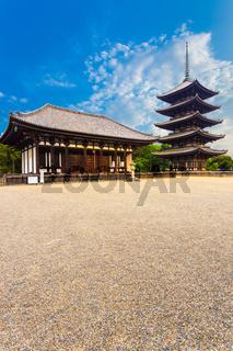Kofuku-Ji East Hall Five Story Pagoda Blue Sky V
