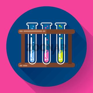set test tubes bubbling sparkling liquid icon. Flat 2.0 design style.