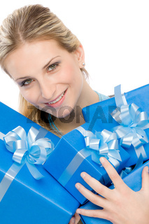Present woman celebration hold gift happy