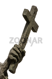 Hand holding an iron cross as religious symbol