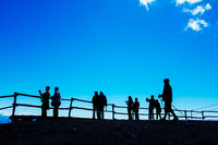 Tourists admire landscape from the top of Mottarone, Stresa, Italy